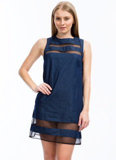 Meshing Around Denim Dress