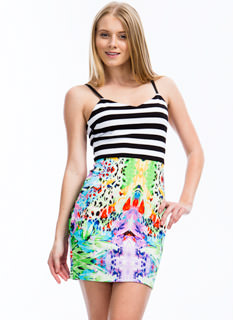 Fixed On Mixed Print Bodycon Dress