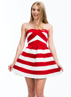 Stripe A Pose Strapless Skater Dress