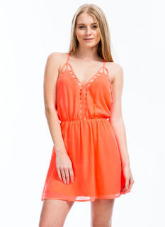 Ladder Up Strappy Cage Trim Dress