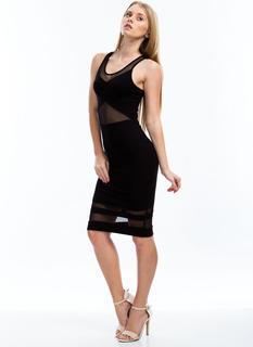 X Factor Mesh Contrast Midi Dress