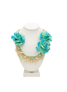 Faux Jewel N Roses Necklace