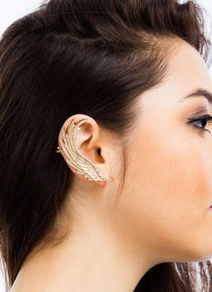 Jeweled Feathered Wing Ear Cuff