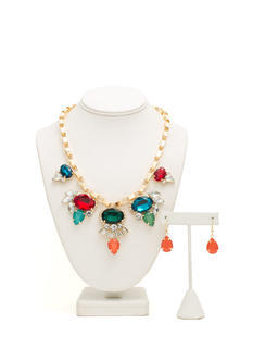 Bib of Faux Jewels Necklace Set