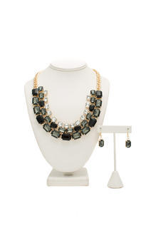 Shiny Square Faux Jewel Necklace Set