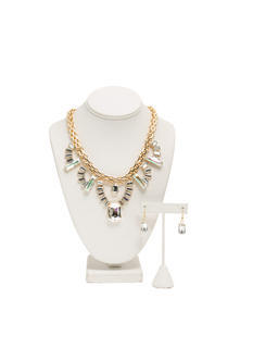 Iridescent Faux Jewels Necklace Set