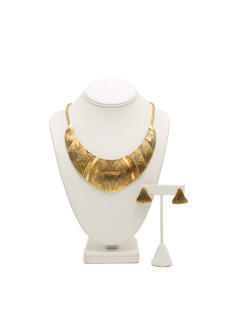 Textured Tribal Plated Necklace Set