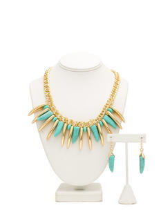 Metallic Tusk N Stone Necklace Set