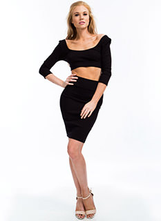 Photo Finish Textured Pencil Skirt