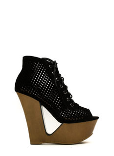Cut It Out Peep-Toe Wedge Booties