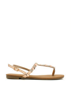 Jewelry Box Metallic T-Strap Sandals