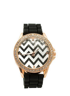 Chevron Rhinestone Silicone Watch