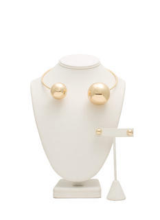 Oversized Metallic Pearl Choker Set
