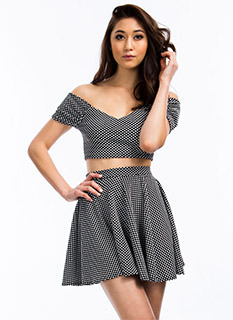 Spotted In Dots Skater Skirt