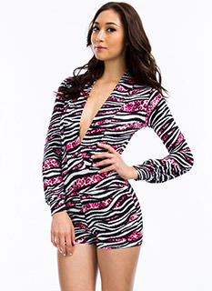 Hybrid Animal Mixed Print Romper