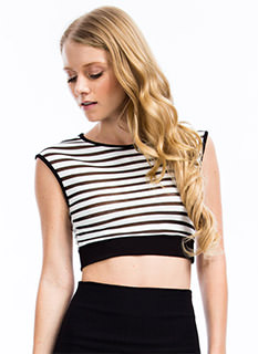 Sheer Thing Striped Cropped Top