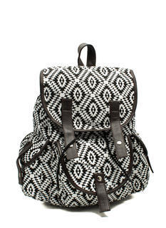 Canvas Aztec Drawstring Backpack