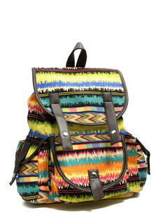 Multicolored Canvas Backpack