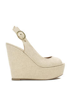 Linen Peep-Toe Wedges