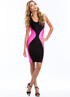 Hour Glass Colorblock Bodycon Dress