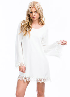 Crochet Away Tie-Back Shift Dress