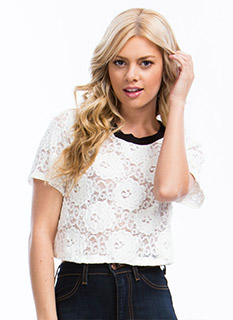 Floral Blooms Lace Cropped Top