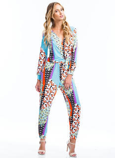 Paint By Numbers Surplice Jumpsuit