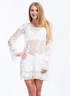 Sheer Right Through U Embroidered Dress