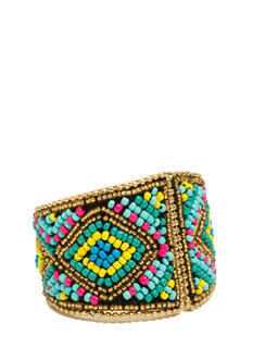 Tribal Tapestry Beaded Hinged Cuff
