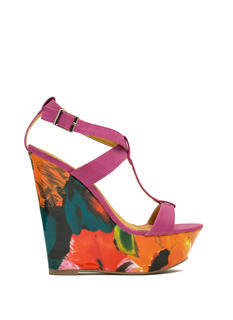 Painted Floral Platform Wedges