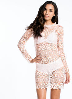 Open Crochet Long Sleeve Dress