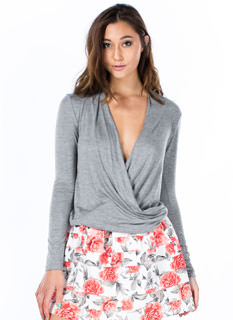 Plunging Twist Front Top