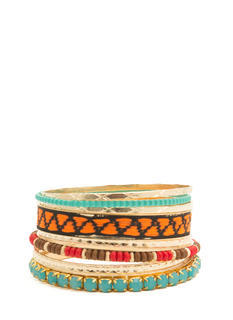 Tribal-Inspired Eight-Piece Bangle Set