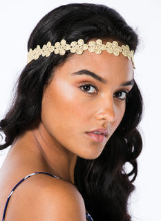 Metallic Swirled Flowers Headband
