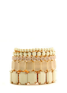 Faceted Faux Jeweled Bracelet Set