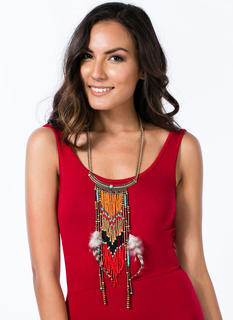 Beaded Fringe Tribal Feather Necklace