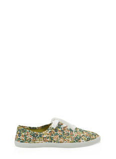 Floral Garden Print Lace-Up Sneakers