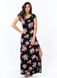Floral-ty Short Sleeve Maxi Dress