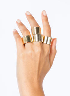 Brushed Metal Ring Set