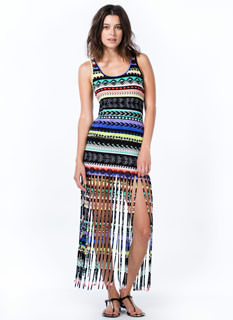 Aztec Attack Shredded Fringe Maxi