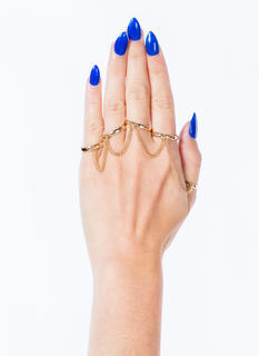 Metal Five-Banded Chained Ring Set