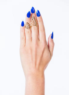 Wavy Palm Fronds Jeweled Ring Duo