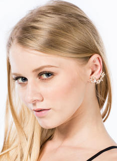 Jeweled Flowers Butterfly Ear Cuff