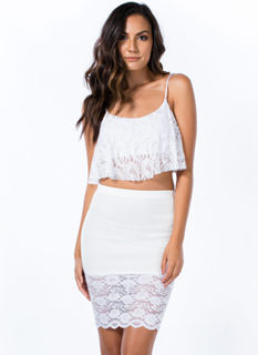 Sheer And There Floral Lace Hem Skirt