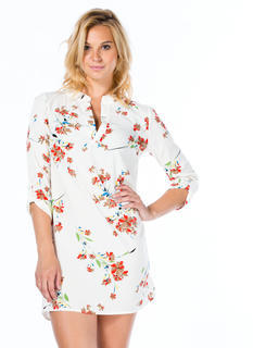 Floral Spray Shift Dress