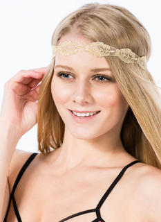 Metallic Embroidered Leaf Headband