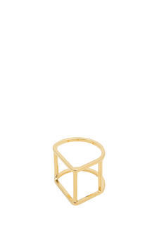 Metallic Curved Cube Ring
