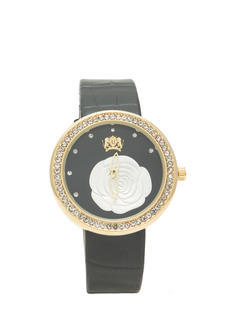 Rhinestone Faux Leather 'N Rose Watch