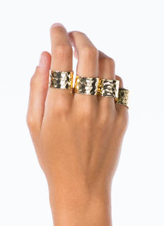Metallic Hammered Ring Set