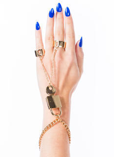 Lock And Key Two-Ring Hand Bracelet